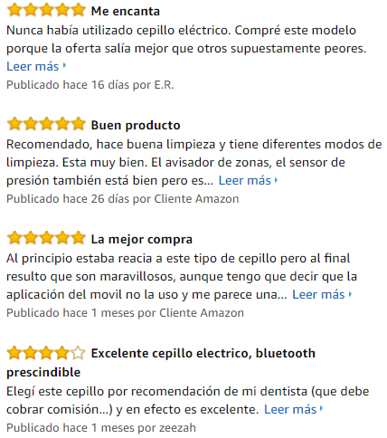 valoraciones en amazon del cepillo oral 8900
