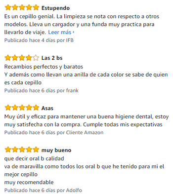 comentarios en oral b 750 en amazon