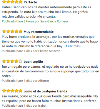 comentarios en amazon sobre el cepillo electrico vitality cross de oral b