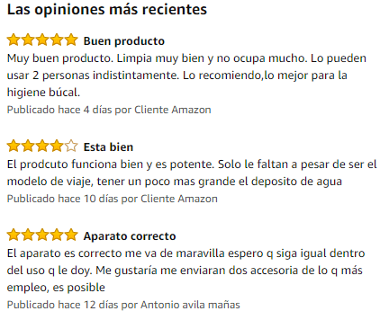 comentarios en amazon sobre irrigador dental wp 300 de waterpik
