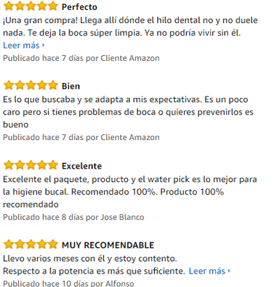 valoraciones de compradores de amazon del waterpik wp100
